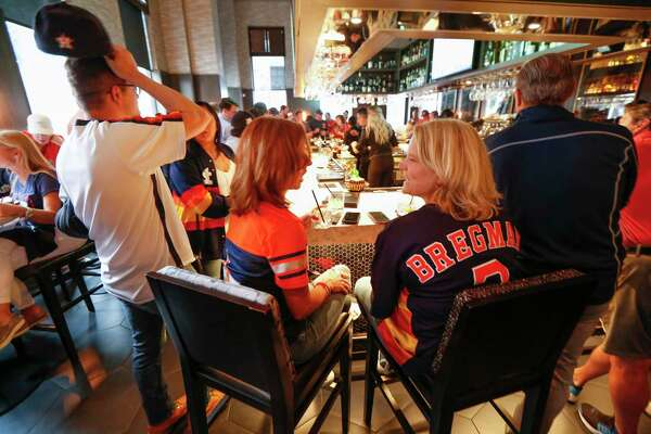 Houston Astros fans pack into Potente before the start of Game 2 of the ALDS.