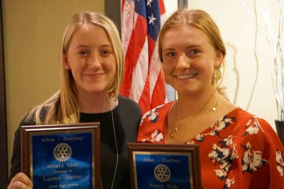 Lauren Weiner, left, and Peyton Zigrang have been selected Students of the Month for October by the Alton-Godfrey Rotary Club.