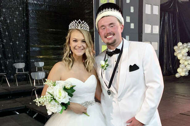 Jacob Kitchen, right, and Anna Brase were named Homecoming King and Queen Saturday during Edwardsville High School's coronation ceremonies in Lucco-Jackson Gymnasium. The couple received their crowns from members of last year's homecoming court.