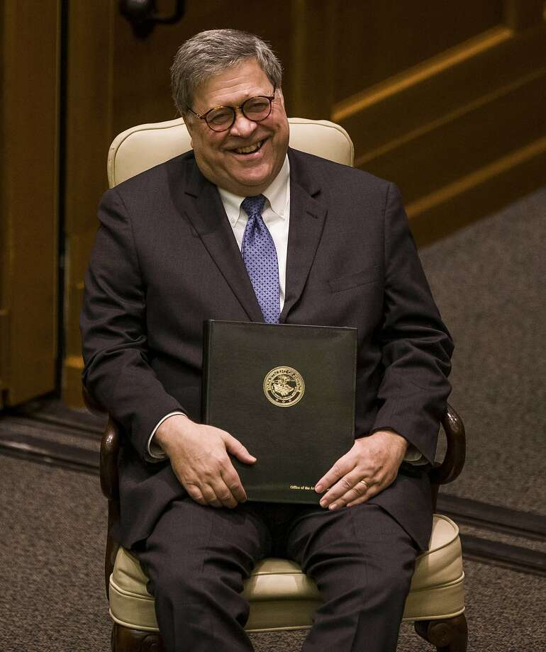 United States Attorney General William P. Barr laughs as he introduced for a speaking event for Notre Dame Law School students and faculty on Friday, Oct. 11, 2019, inside Notre Dame's Eck Hall of Law in South Bend, Ind. (Robert Franklin/South Bend Tribune via AP) Photo: Robert Franklin, Associated Press