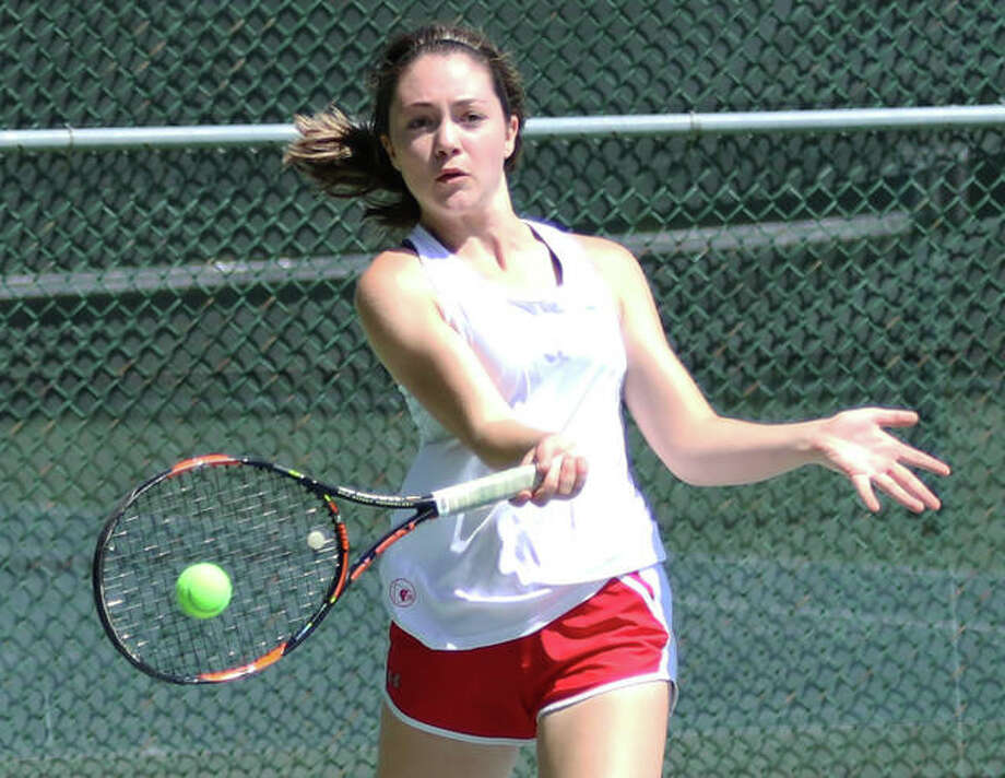 Maddie Saenz will be one of six seniors honored by Alton Redbirds girls tennis on its Senior Day in a city championship match vs. Marquette Catholic at 4 p.m. Monday at LCCC's Andy Simpson Tennis Complex in Godfrey. Nikki Lowe, Val Walters, Abby Scyoc, Bella Kane, and Kajia Ufert will also be playing their final dual for the Redbirds. Marquette also has six seniors on its roster in Emily Berkenbile, Lette Brown, Ashleigh Dooling, Leah Hoefert, Grace Schulz and Kaya Theis. Photo: Greg Shashack / The Telegraph
