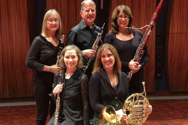 Members of the Madera Winds Quintet are, in back, from left, Janet Atherton, Ralph Kirmser and Rosemary Dellinger. In front are Kerry Walker and Marjorie Callaghan.