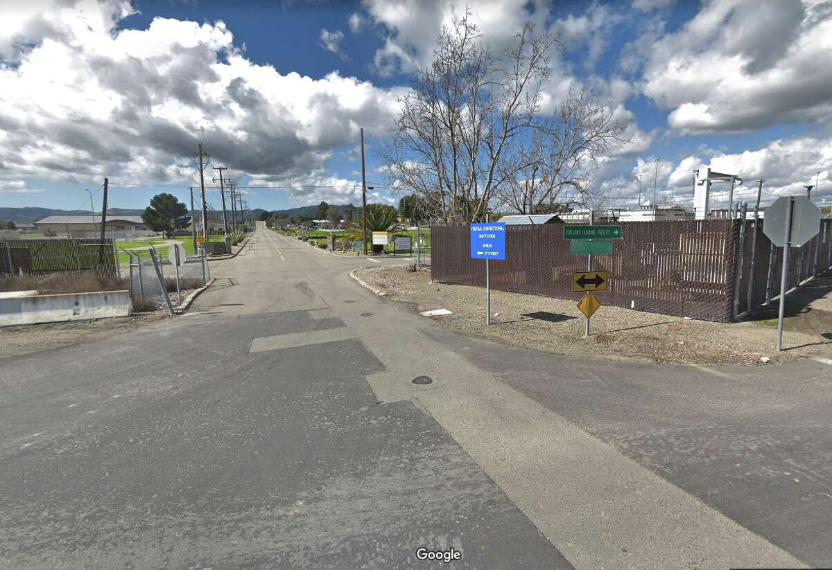 The entrance of the Federal Correctional Institution in Dublin, Calif.