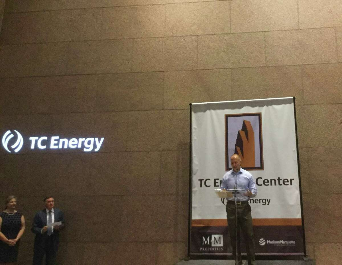 Stan Chapman, executive vice president and head of U.S. natural gas pipelines for TC Energy, addresses employees and building representatives on Tuesday, Oct. 15, 2019 at an announcement of the new building name, TC Energy Center, in the lobby of 700 Louisiana. Most of the company's 1,000 Houston employees are located in the downtown building, which was previously called Bank of America Center.