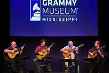 The Los Angeles Guitar Quartet prepares for a performance at Grammy Museum Mississippi in 2016.