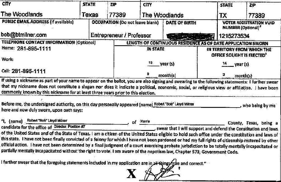 Bob Milner, a candidate for Position 7 seat on The Woodlands Township Board of Directors, listed incorrect information on his state candidate application form in regard to his lengths of continuous residency in both The Woodlands and the state of Texas. Milner admitted he has only resided in the township since sometime in 2014, contradicting the more than 14 years he listed on his form. He also listed erroneous information for his continuous time of residence in Texas, stating more than 15 years. Photo: Image Courtesy The Woodlands Township / Image Courtesy The Woodlands Township