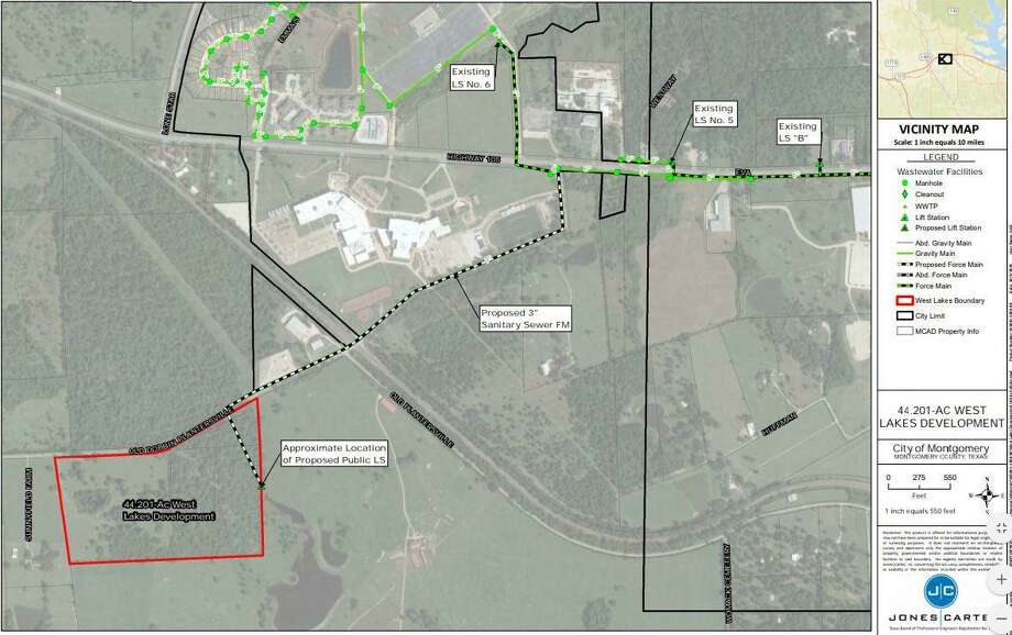City officials say a proposed residential development in Montgomery would require annexation and shared services with multiple providers, including Dobbin. Promocon USA plans to turn the 44.2-acre undeveloped tract of land into a single-family development on the Southwest side of town within Montgomery's ETJ. Photo: Submitted Photo / Submitted Photo