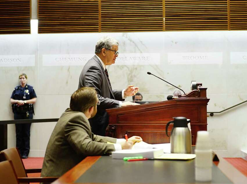Paul Shechtman, attorney for John Cole, speaks at the New York State Supreme Court, Appellate Division, Third Judicial Department on Tuesday, Oct. 15, 2019, in Albany, N.Y. Shechtman was making an appeal argument on behalf of Cole who was convicted and sentenced to 7 years in prison for an alcohol-impaired crash in Halfmoon that injured Deanna Shapiro, a passenger in his car. Also pictured is Saratoga County Assistant District Attorney Gordon Eddy, foreground. (Paul Buckowski/Times Union)
