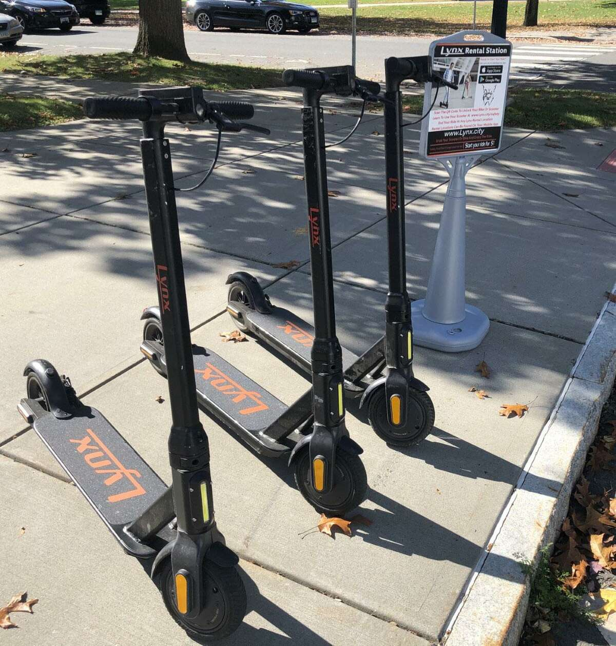 Using a smart phone app, scooters are available to rent in downtown New Milford.