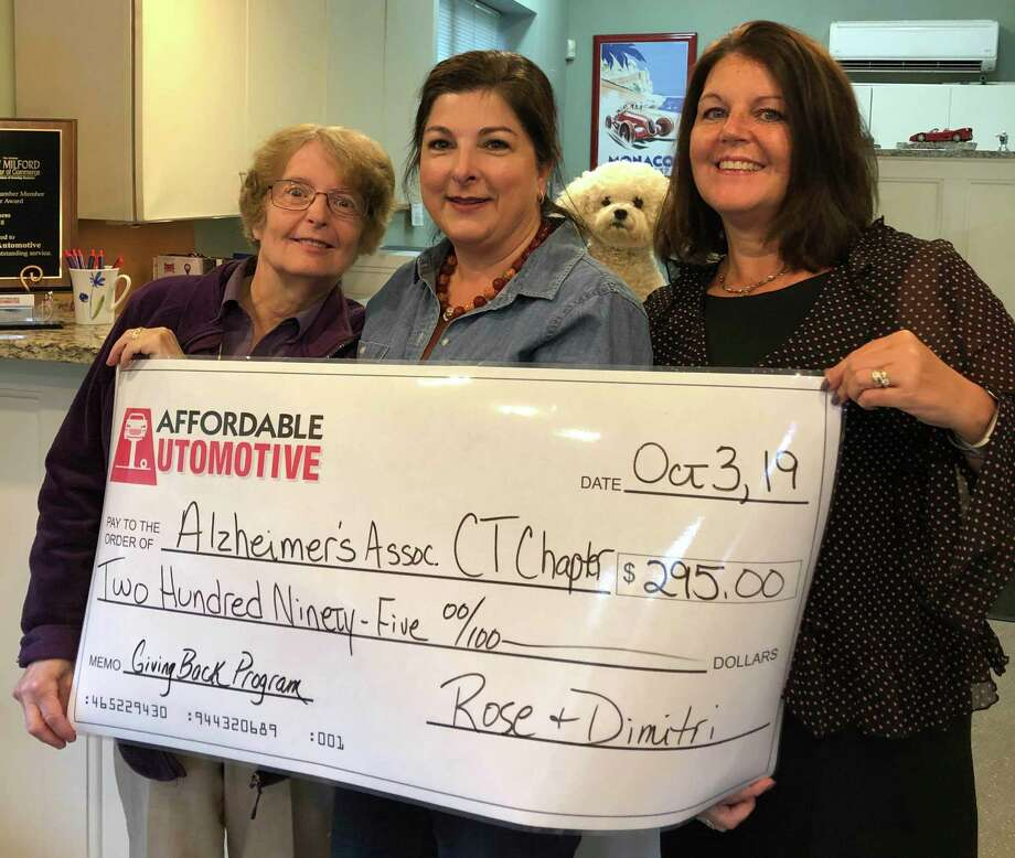Affordable Automotive in New Milford recently presented the Alzheimer's Association with a check for $295. Funds were raised through Affordable Automotive's Giving Back Program for the month of September. For every oil change in September, $5 was set aside for the Alzheimer's Association. Above are, from left to right, Sue Noonan, Rose Koulouris of Affordable Automotive and Carolyn DeRocco of the Alzheimer's Association. Photo: Courtesy Of Affordable Automotive / The News-Times Contributed