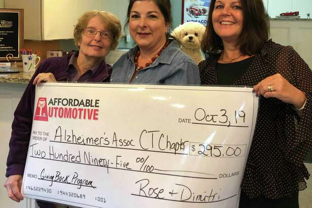 Affordable Automotive in New Milford recently presented the Alzheimer's Association with a check for $295. Funds were raised through Affordable Automotive's Giving Back Program for the month of September. For every oil change in September, $5 was set aside for the Alzheimer's Association. Above are, from left to right, Sue Noonan, Rose Koulouris of Affordable Automotive and Carolyn DeRocco of the Alzheimer's Association.
