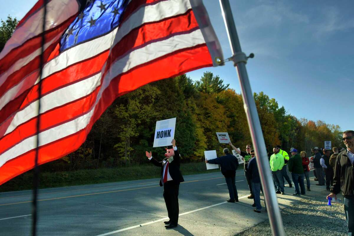 Union members and their supporters take part in a protest at the site of the future Amazon distribution center on Tuesday, Oct. 15, 2019, in Castleton, N.Y. Local workers are not being used to develop the Amazon site. (Paul Buckowski/Times Union)