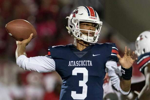 Atascocita quarterback Brice Matthews (3) attempts a pass in the second half of a high school football game Friday, Sep 6, 2019, in Humble, Texas.
