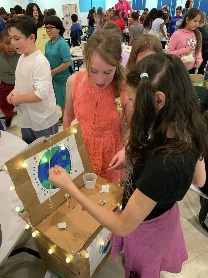 Forbes School students took part in a cardboard challenge on Oct. 11, using teamwork and critical thinking for each project. Photo: Kristin Twomey / Contributed Photo /