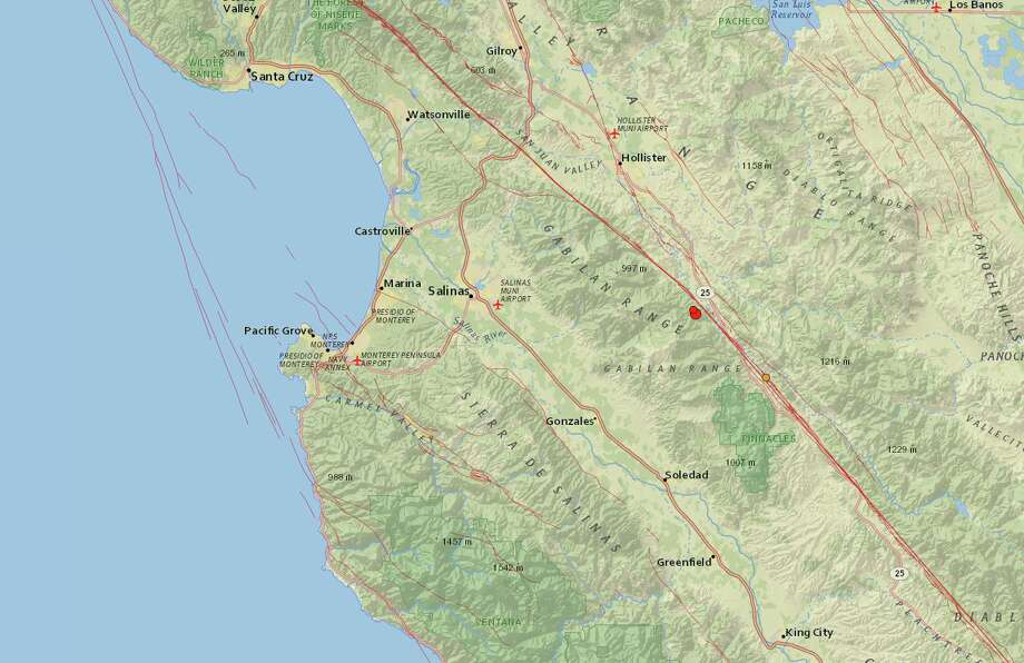 An earthquake with a preliminary magnitude of 4.8 shook Central California Tuesday afternoon. It was felt in parts of the Bay Area. Photo: Screenshot / USGS