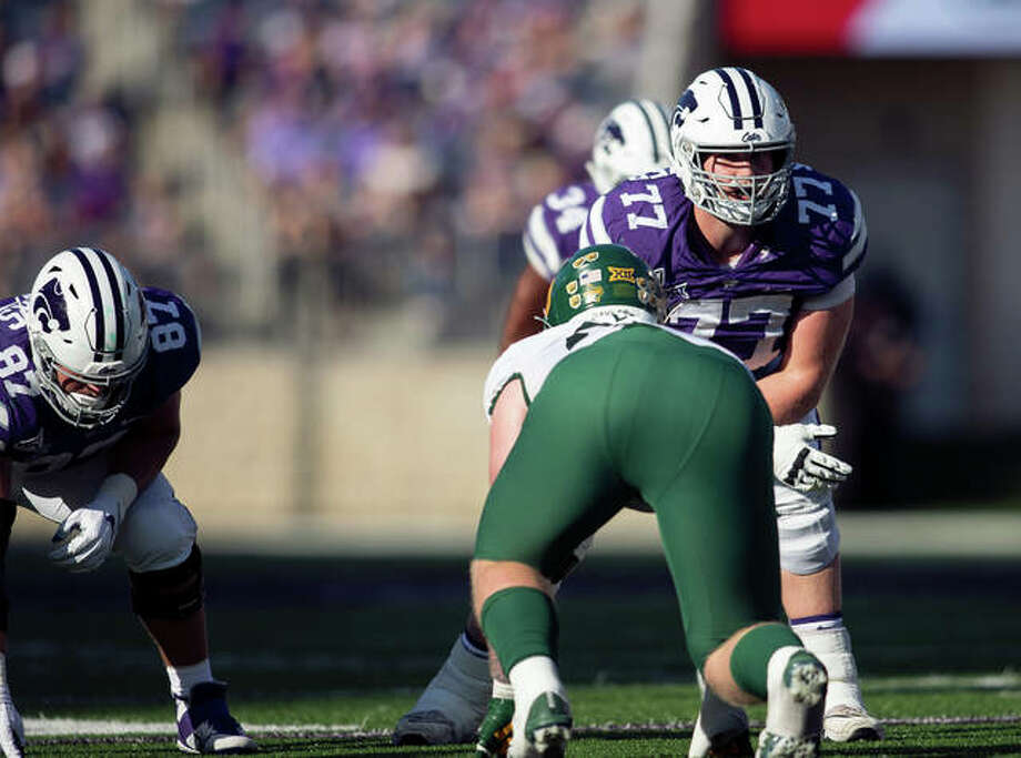 Kansas State's Nick Kaltmayer (No. 77) lines up at right tackle during a game this season. Kaltmayer is in his first season as a starter. Photo: Kansas State Athletics