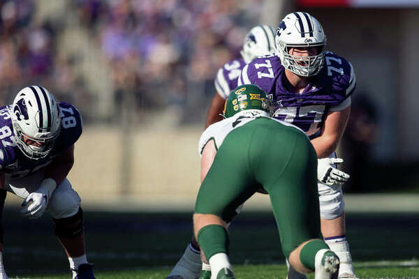 Kansas State's Nick Kaltmayer (No. 77) lines up at right tackle during a game this season. Kaltmayer is in his first season as a starter.