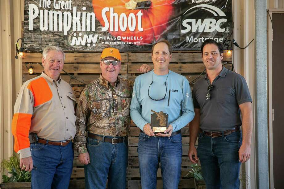 """Meals on Wheels Montgomery County (MOWMC) is preparing for their largest fundraiser of the year, the fourth annual """"The Great Pumpkin Shoot - Aiming To Feed Seniors"""" sporting clays tournament on October 25, 2019 at the Blackwood Gun Club in Conroe, TX, to benefit the homebound elderly of Montgomery County. Pictured is Dave Baker and the first place team for 2018. Photo: Courtesy Photos, Photographer / Eliz Alex Photography By Elizabe / ©2018 Eliz Alex Photography by Elizabeth Alexander"""