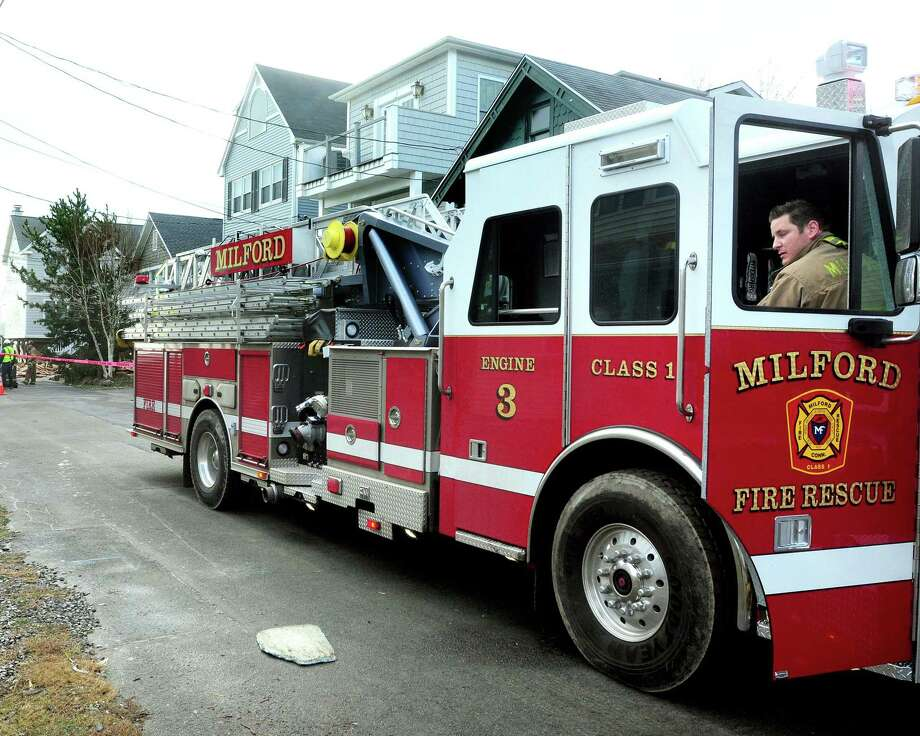 File photo of a Milford Fire Department engine. Photo: Hearst Connecticut Media File Photo