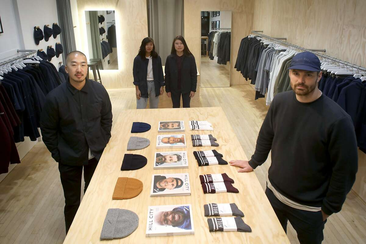 Head of Hill City Noah Palmer (right) creative lead Calvin Leung (left) show the new men�s wear pop-up store in Hayes Valley opening today on Tuesday, Oct. 15, 2019, in San Francisco, Calif.