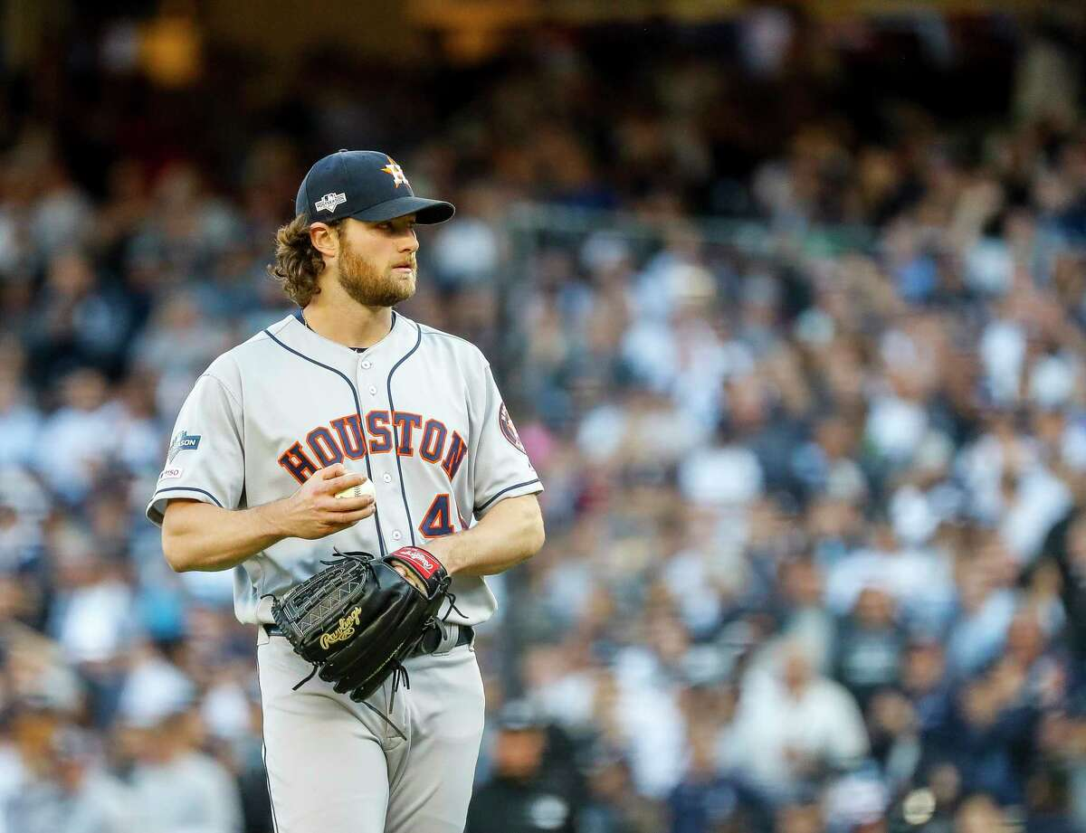PHOTOS:Astros players' contract situation heading into 2019-20 offseason Houston Astros starting pitcher Gerrit Cole (45) pitches during the first inning of Game 3 of the American League Championship Series at Yankee Stadium in New York on Tuesday, Oct. 15, 2019. >>>A look at the contract situation for each Houston Astros player heading into the 2019-20 offseason ...