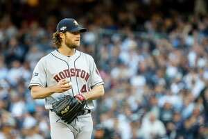 Houston Astros starting pitcher Gerrit Cole (45) pitches during the first inning of Game 3 of the American League Championship Series at Yankee Stadium in New York on Tuesday, Oct. 15, 2019.