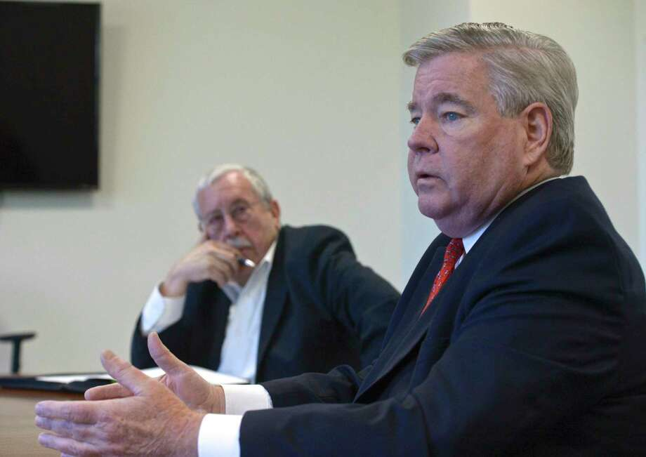 Candidates for Brookfield First Selectman, Democratic incumbent Steve Dunn, right, and Republican challenger Mel Butow during the News Times editorial board interview. Tuesday, October 15, 2019, in Danbury, Conn. Photo: H John Voorhees III / Hearst Connecticut Media / The News-Times