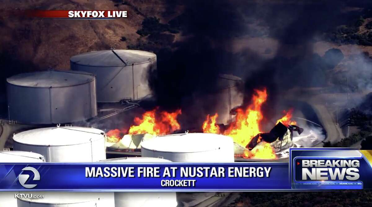 A fire in Crockett sent flames and black smoke into the Bay Area on Oct. 15, 2019.