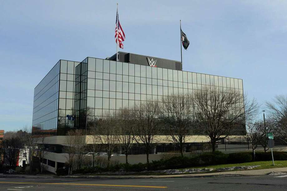 "WWE headquarters at 1241 E. Main St., in Stamford, Conn. At the headquarters, the company filmed the ladder matches for its ""Money in the Bank"" special airing on May 10, 2020. Photo: Matthew Brown / Hearst Connecticut Media / Stamford Advocate"
