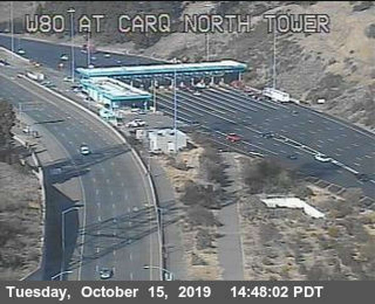 Traffic cameras show very light traffic on the Carquinez Bridge at 2:45 p.m. Tuesday, after I-80 was shut down due to the NuStar refinery fire.