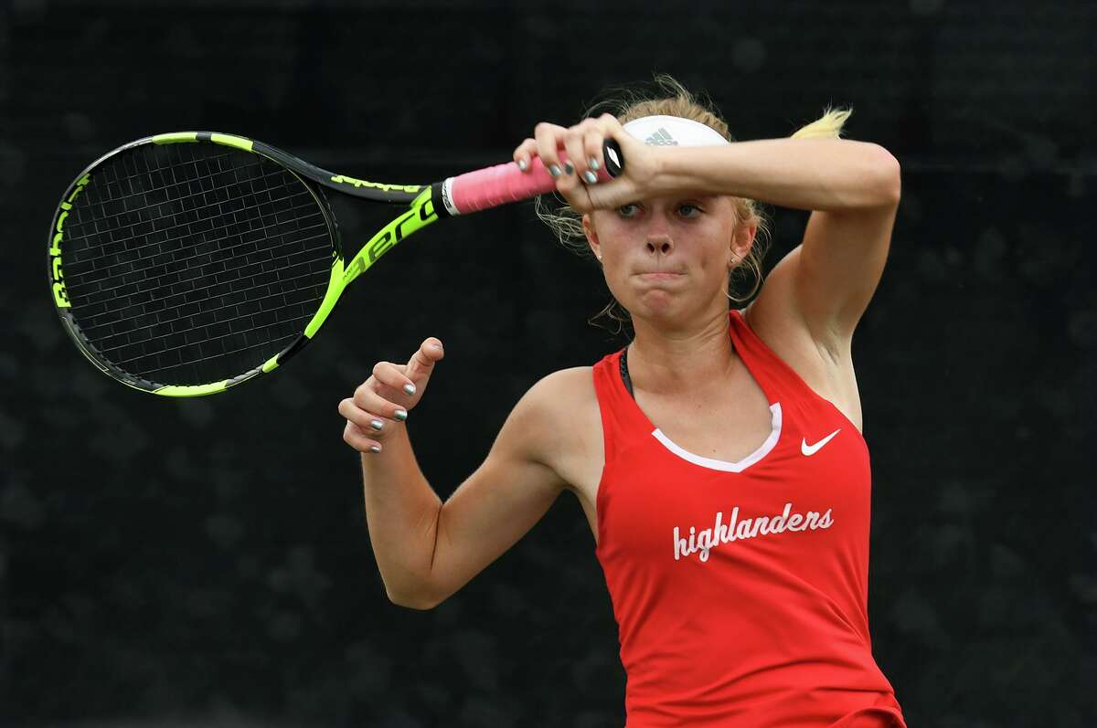 The Woodlands Avery Hilbig, pictured here during last spring's individual state tennis tournament, was part of the Highlanders' dominant first-round win over Aldine Eisenhower.