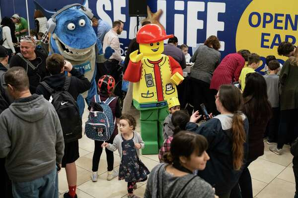 "A LEGO mascot walks through the crowd during a lego-building competition to name the new Lego Master Builder for LEGOLAND Discovery Center San Antonio opening soon on Sunday, January 13, 2019. The theme for today's competition was, ""Tell Us Something You're Passionate About,"" and included 10 finalists who completed their construction projects in the hour allotted. The Master Builder will be tasked with teaching creative workshops at LEGOLAND Discovery Center."