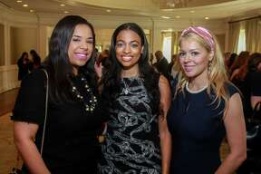 """Lauren Randle, from left, Candice Young and Ingrid Carrasco at the Baylor College of Medicine Teen Health Clinic's annual """"Hope for the Future"""" luncheon at River Oaks Country Club on October 15, 2019."""