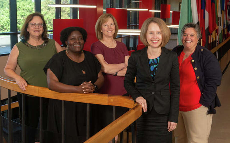 Left to right, SIUE's Leah O'Brien, professor of chemistry; Jessica Harris, interim assistant provost for inclusive academic excellence; Lynn Bartels, professor of psychology; Susan Morgan, associate dean for research and graduate studies in the SIUE Graduate School; and Denise Cobb provost and vice chancellor for academic affairs.