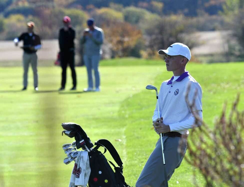 Paul Goetz of Shenendehowa reacts after chipping onto the green at the 18th hole during Section II golf championship play on Tuesday, Oct. 15, 2019, at Orchard Creek in Guilderland, N.Y. (Will Waldron/Times Union)