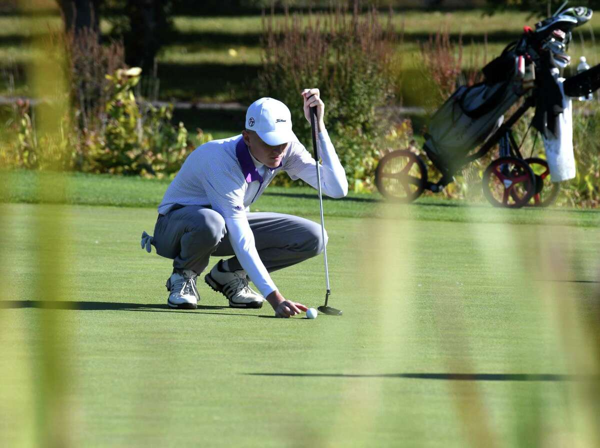 Paul Goetz of Shenendehowa lines up his shot on the 18th hole during Section II golf championship play on Tuesday, Oct. 15, 2019, at Orchard Creek in Guilderland, N.Y. (Will Waldron/Times Union)