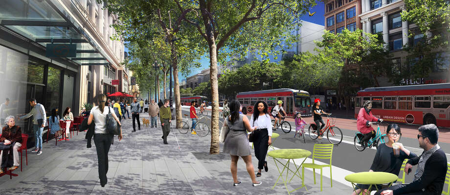 Renderings from the Better Market Street Project show what the updates on Market Street could look like, including expanded sidewalk areas which will include bike lanes. Photo: Better Market Street Project