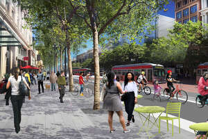 Renderings from the Better Market Street Project show what the updates on Market Street could look like, including expanded sidewalk areas which will include bike lanes.