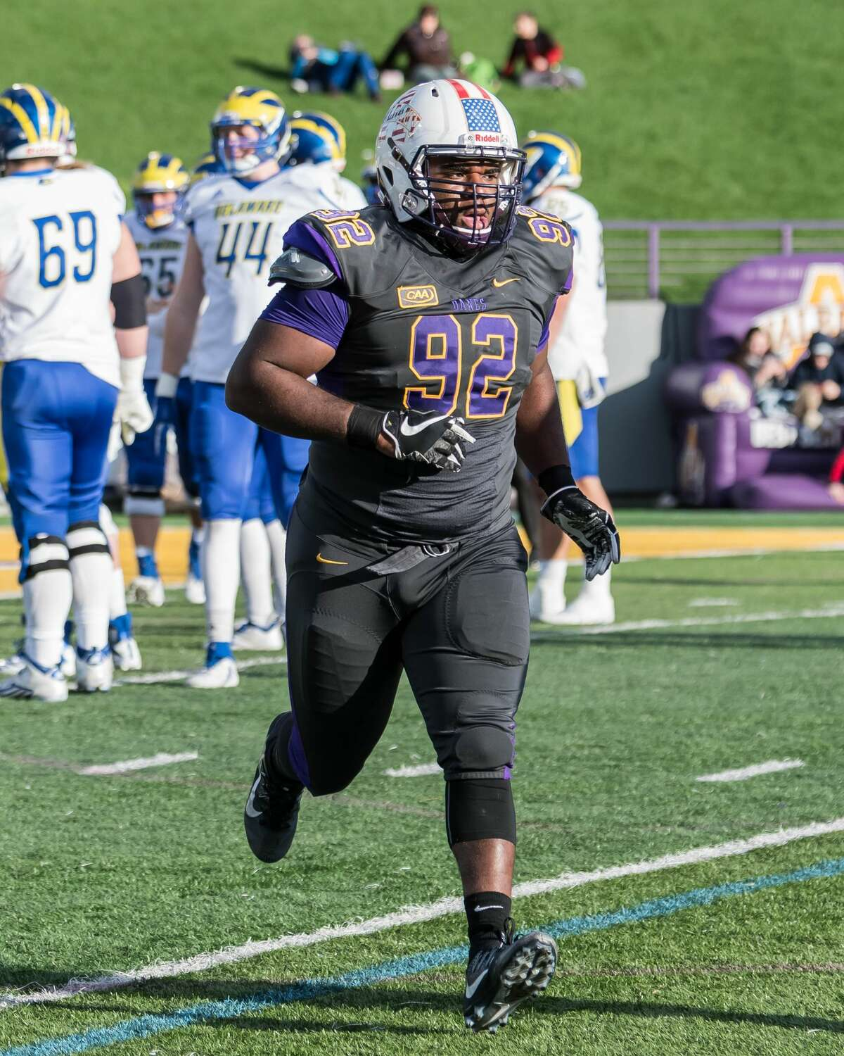 UAlbany defensive tackle Mazon Walker was second on the team with 14 tackles for losses last season. (Bill Ziskin/UAlbany Athletics)