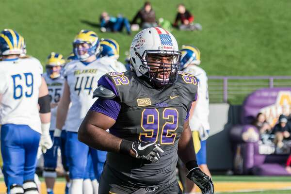 UAlbany defensive tackle Mazon Walker is second on the team with nine tackles for losses. (Bill Ziskin/UAlbany athletics)