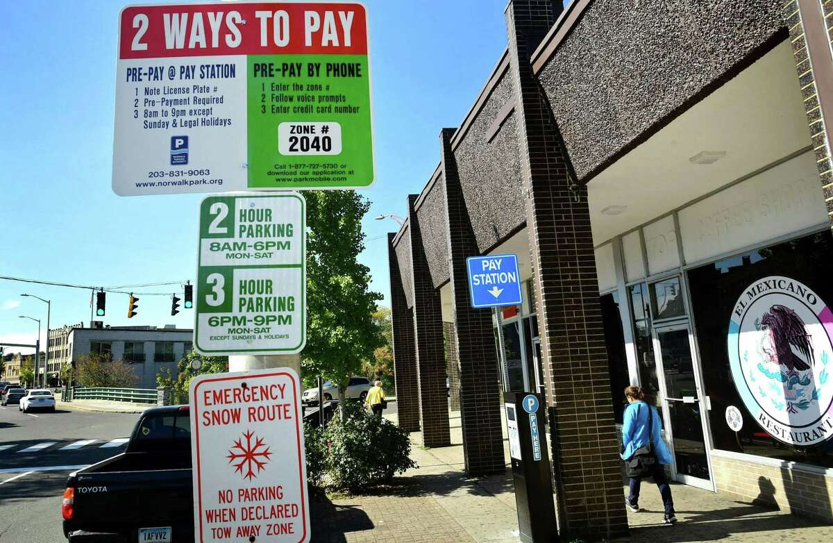 The Wall St busniess district Tuesday, October 15, 2019, in Norwalk, Conn. Wall Street business owners are protesting what they say are prohibitively high costs of parking in the Wall Street district of Norwalk and at least one is threatening to leave if the parking situation is not rectified.