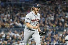 Houston Astros starting pitcher Gerrit Cole (45) reacts after striking out New York Yankees center fielder Aaron Hicks to end the bottom of the sixth inning during Game 3 of the American League Championship Series at Yankee Stadium in New York on Tuesday, Oct. 15, 2019.