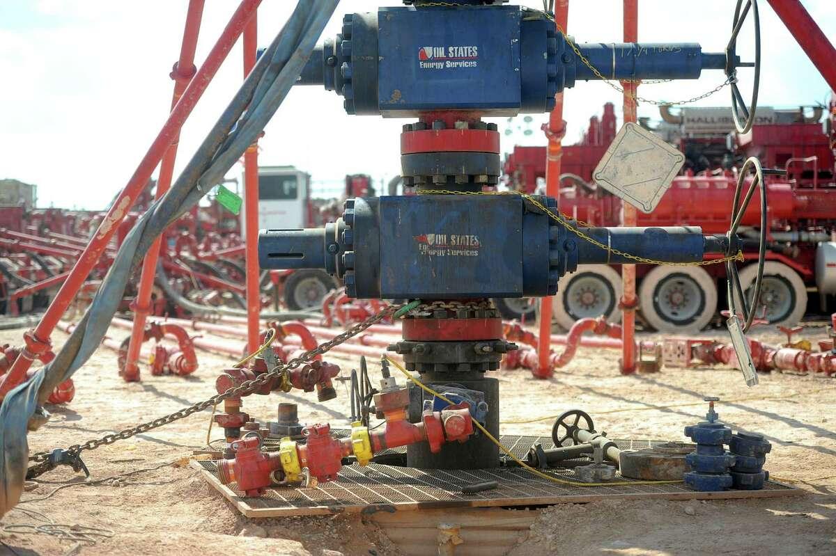 A wellhead on a fracking site managed by Octane Energy on Friday, Sept. 23, 2016 near Stanton. James Durbin/Reporter-Telegram