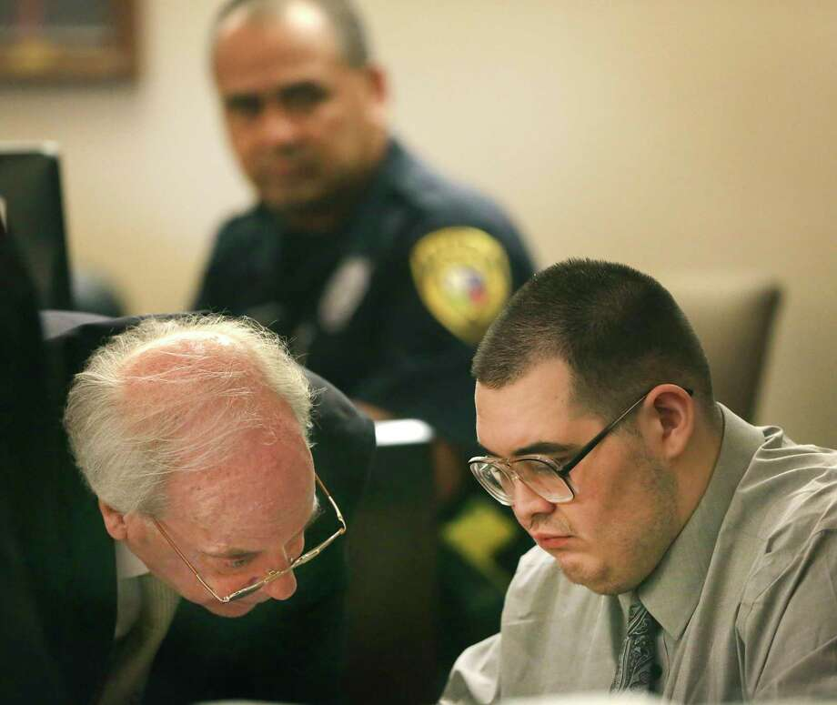 "David Samora, right, listens to his lawyer Vincent ""Denny"" Callaghan during his murder trial in the 187th State District Court in the Cadena-Reeves Justice Center, on Tuesday, Oct. 15, 2019. He plead no contest to murdering Raymond Silva, after the trial was underway. Photo: Bob Owen, STAFF-photographer / Staff Photographer / ©2019 San Antonio Express-News"