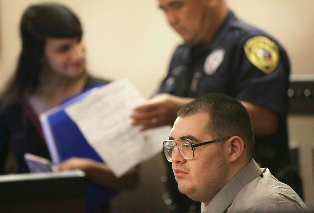 David Samora waits during his murder trial in the 187th State District Court in the Cadena-Reeves Justice Center, as his plead papers are prepared, on Tuesday, Oct. 15, 2019. He plead no contest to murdering Raymond Silva, after the trial was underway.