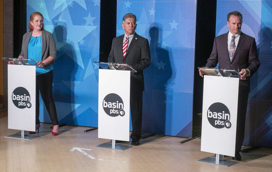 Midland mayoral candidates Jenny Cudd, Jerry Morales and Patrick Payton debate the issues 10/15/19 during the second live Basin PBS debate at the Martin Luther King Community Center. Tim Fischer/Reporter-Telegram Photo: Tim Fischer/Midland Reporter-Telegram