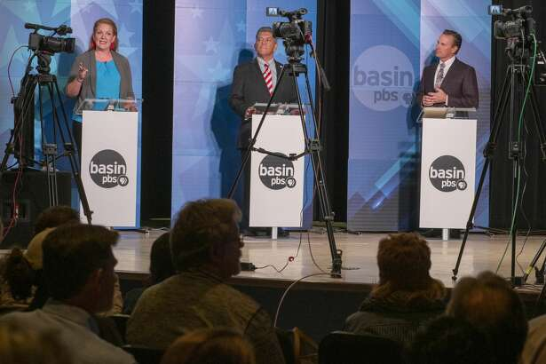 Midland mayoral candidates Jenny Cudd, Jerry Morales and Patrick Payton debate the issues 10/15/19 during the second live Basin PBS debate at the Martin Luther King Community Center. Tim Fischer/Reporter-Telegram