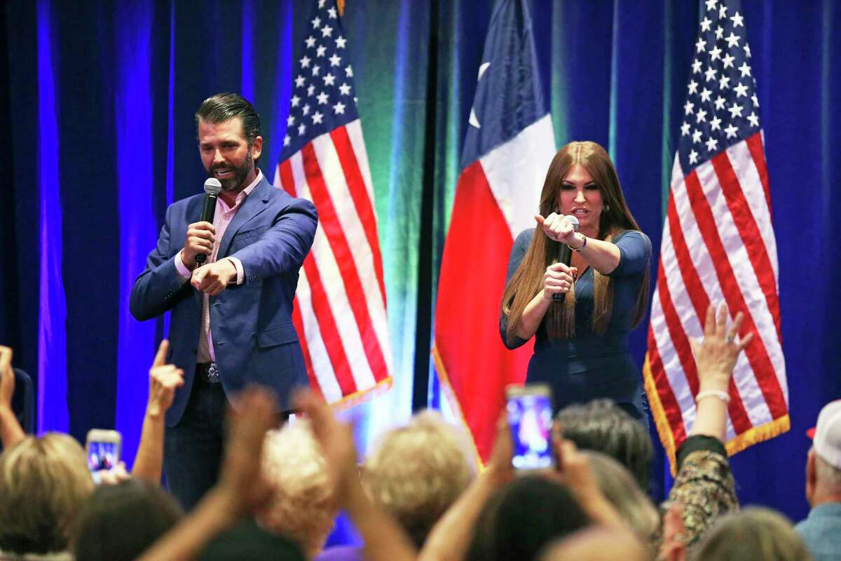 Donald Trump, Jr. works the audience with Kimberly Guilfoyle as he visits the Henry B. Gonzalez Convention Center on behalf of the Trump/Pence 2020 rel-election campaign on Oct. 15, 2019.