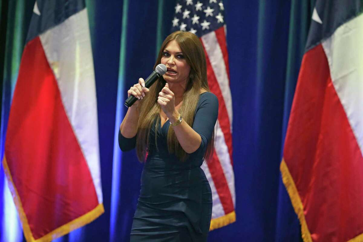 FILE - Kimberly Guilfoyle speaks as Donald Trump, Jr. visits the Henry B. Gonzalez Convention Center on behalf of the Trump/Pence 2020 re-election campaign on Oct. 15, 2019.