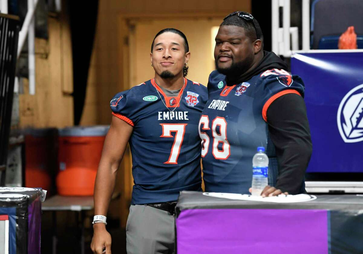 Albany Empire's Malachi Jones (7) and teammate Ryan Cave (68) are seen during the Arena Football League 2019 award ceremony at the Times Union Center, Saturday, Aug. 10, 2019, in Albany, N.Y. (Hans Pennink / Special to the Times Union)